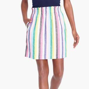 J.CREW 4 Mixed Sidewalk Stripe Skirt Linen